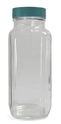 Qorpak™ Clear French Square Bottles with Green Thermoset F217 and PTFE Cap
