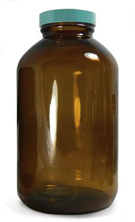 Qorpak™ Amber Wide Mouth Packer Bottles with Green Thermoset F217 and PTFE Cap
