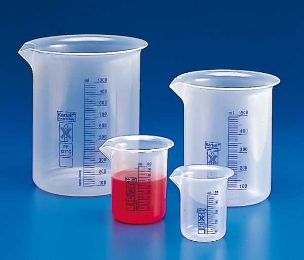 Kartell™ Polypropylene Low Form Beakers with Blue Printed Graduations Capacity: 100mL Kartell™ Polypropylene Low Form Beakers with Blue Printed Graduations