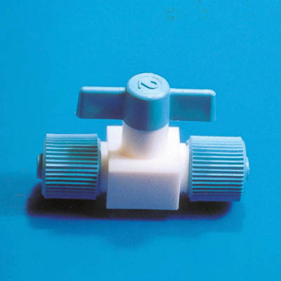 Fisherbrand™ PTFE Straight Through Valve with Screw Lock Bore: 4mm Fisherbrand™ PTFE Straight Through Valve with Screw Lock