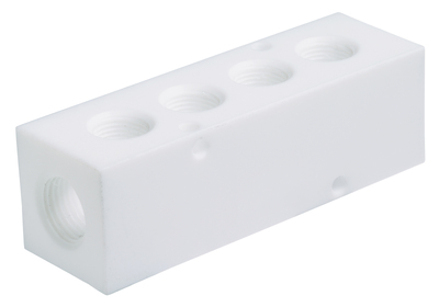 Cole-Parmer™PTFE Manifold, 6 outlets 6.75 in. Cole-Parmer™PTFE Manifold, 6 outlets