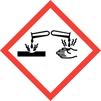 Hazard Warning Label 'Corrosive' Self-Adhesive GHS and CLP Compliant 20x20mm  Safety Awareness Signs