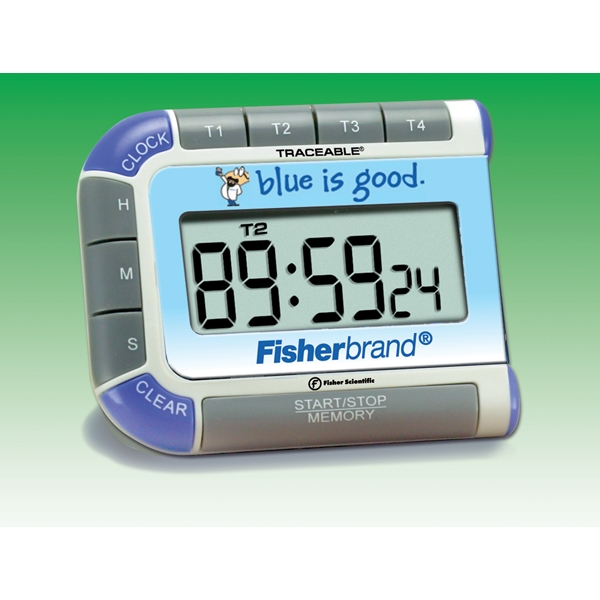 Fisherbrand™ Seymour Blue™ Traceable™ Multi-Colored Timer Four separate timing channels countdown and alarm; Times up to 99 hours, 59 minutes, 59 seconds Stopwatches