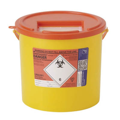 Sharpsguard™ orange 11.5 Multi-Purpose 9.27L Sharps Container with Pail Handle Dimensions: 280L x 250mmH; Capacity: 11.5L; Color: yellow/red Sharps Disposal Containers