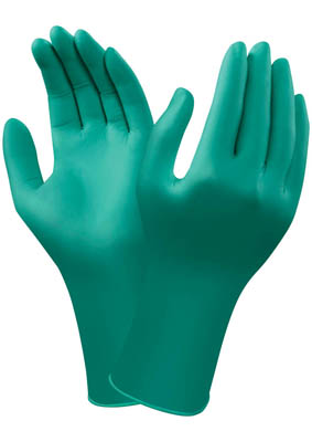 Ansell Edmont™TouchNTuff™ Extended Cuff Disposable Green Nitrile Gloves Powder-free; Color: green; Size: XL Ansell Edmont™TouchNTuff™ Extended Cuff Disposable Green Nitrile Gloves