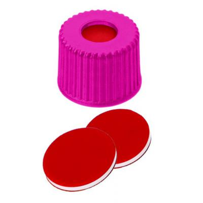 Fisherbrand™ 8mm PP Screw Seal, Pink, Center hole, 8-425 thread, Assembled septum PTFE/Silicone/PTFE red/white/red,1.0mm thickness,45° shore A Fisherbrand™ 8mm PP Screw Seal, Pink, Center hole, 8-425 thread, Assembled septum