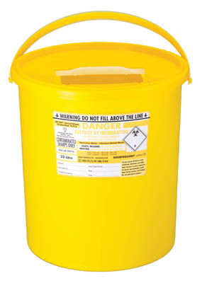 Sharpsguard™ yellow 22 Multi-Purpose 17.86L Sharps Container with Pail Handle Dimensions: 330L x 345mmH; Capacity: 22L; Color: yellow Sharps Disposal Containers