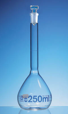 BRAND™ BLAUBRAND™ Glass Volumetric Flasks, Class A, USP, Certified 250mL; With NS 14/23 glass stopper; Transparent BRAND™ BLAUBRAND™ Glass Volumetric Flasks, Class A, USP, Certified