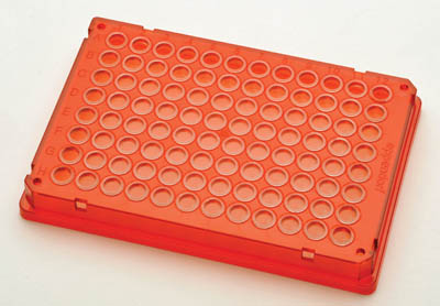 Eppendorf™96-Well twin.tec™ Conical Bottom Skirted PCR Plates Color: Red/Clear Eppendorf™96-Well twin.tec™ Conical Bottom Skirted PCR Plates